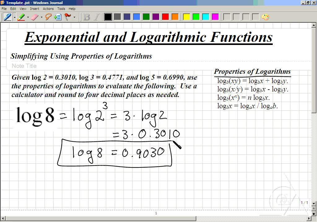 Classroom Intermediate Algebra Evaluate Logarithms Using