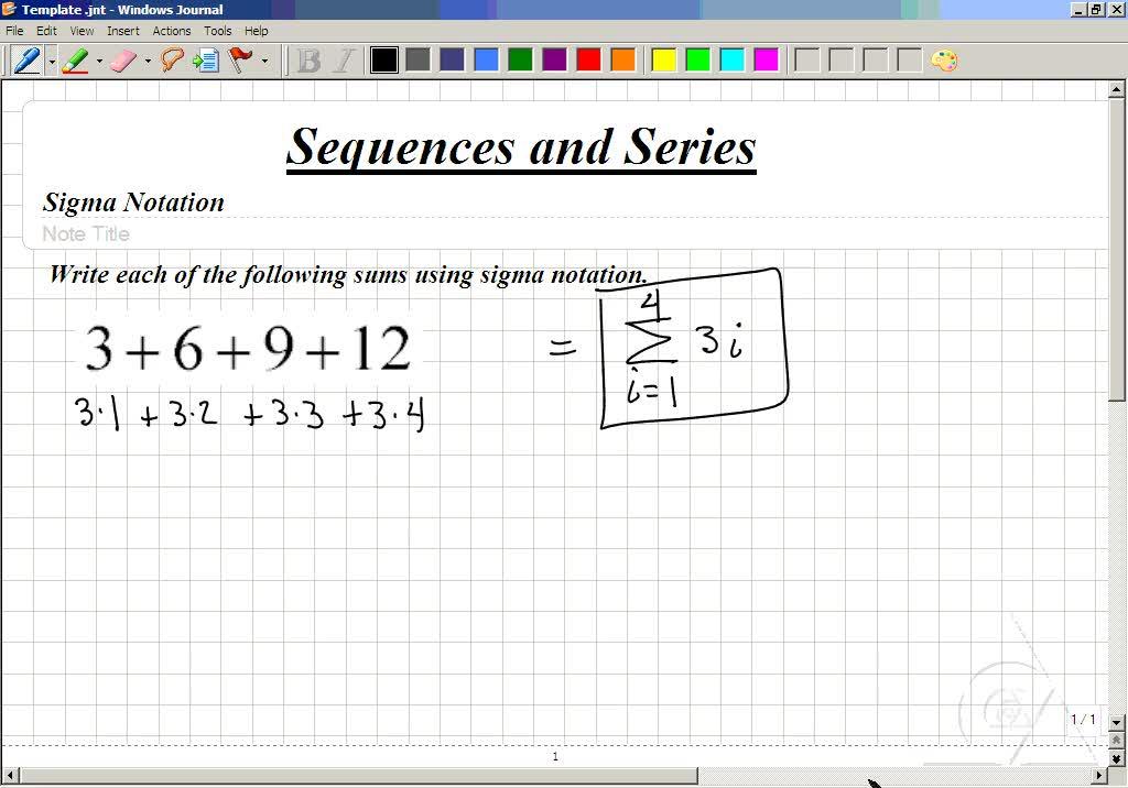 Classroom Intermediate Algebra Writing A Series In Sigma Notation